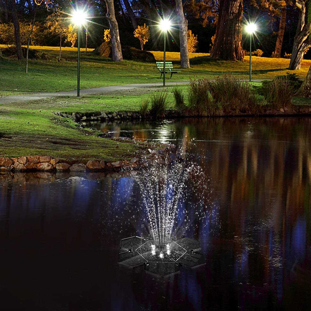 Solar Powered Water Fountain with LED Lights