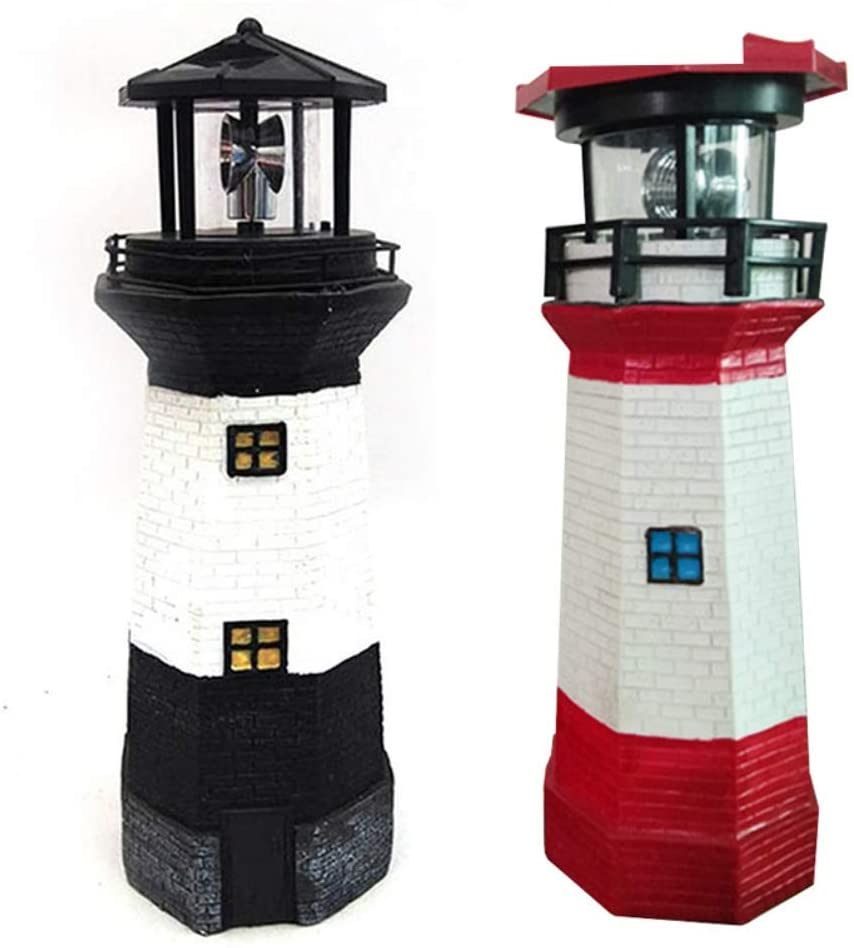 LED Solar Powered Lighthouse with rotating light