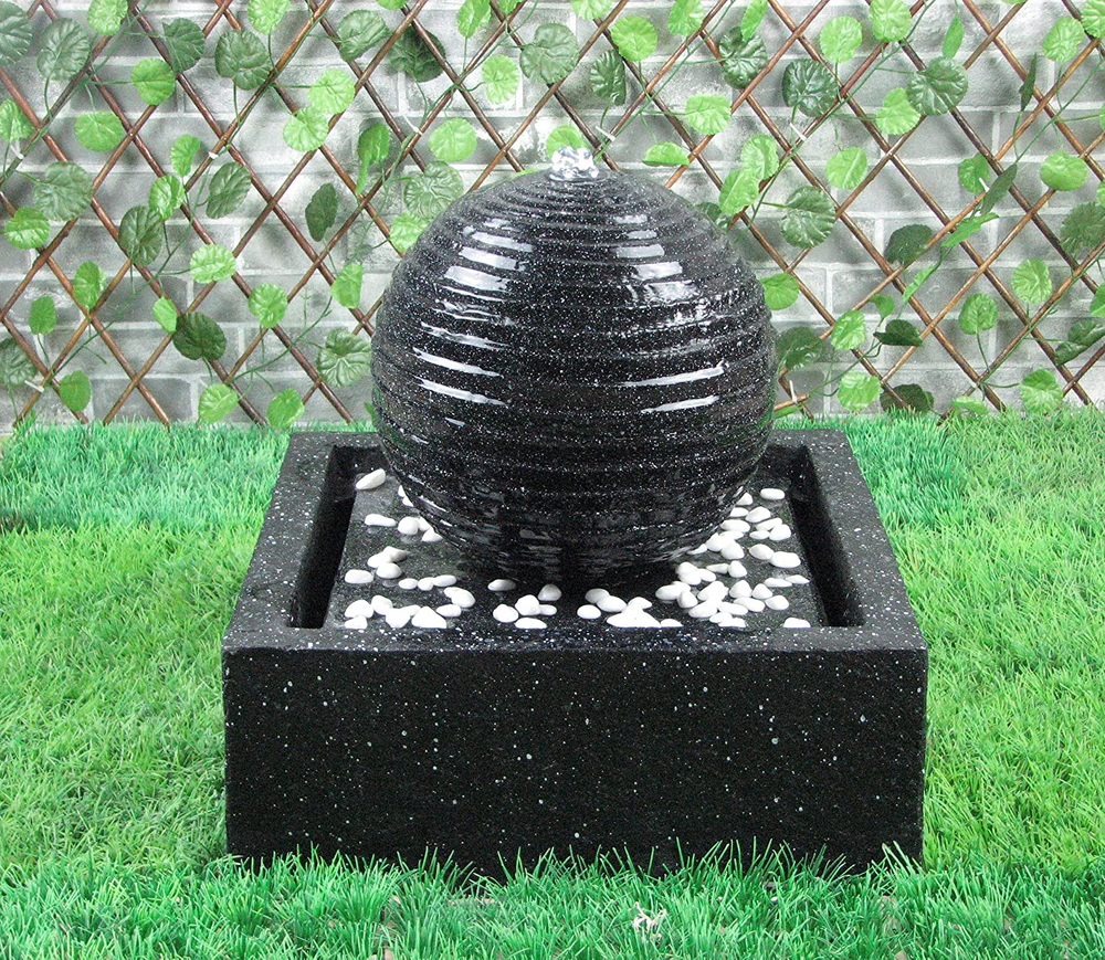 Patio Solar Powered Water Ball - Black